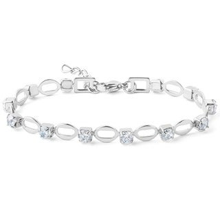 ELYA Stainless Steel and Cubic Zirconia Tennis-style Bracelet