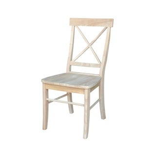 Unfinished Solid Parawood X-back Dining Chairs (Set of 2)