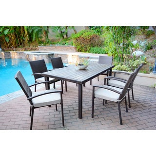 7-piece Espresso Wicker Dining Set with Tan Cushions