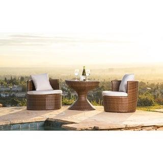 ABBYSON LIVING Palermo Outdoor Brown Wicker 3-piece Chair Set
