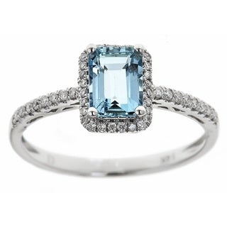 Anika and August D'yach 14k White Gold 1/5ct TDW Diamond and Emerald-cut Brazilian Aquamarine Ring (G-H, I1-I2)