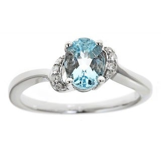 Anika and August D'yach .925 Sterling Silver Oval-cut Brazilian Aquamarine and Diamond Accent Ring