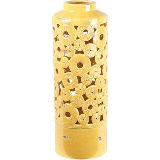 Yellow Circles Ceramic Vase