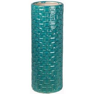 Turquoise Large Ceramic Weave Vase