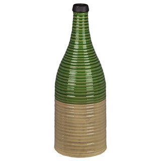 Green and Beige Ceramic Ribbed Vase
