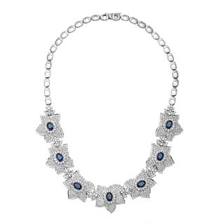 Pre-owned 18k White Gold 10 2/3ct TDW Diamond and Sapphire Estate Floral Necklace (H-I, VS1-VS2)