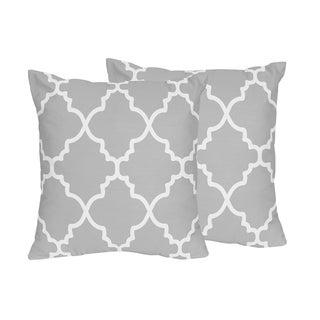 Sweet Jojo Designs Trellis Collection Grey and White Lattice Print Throw Pillows (Set of 2)