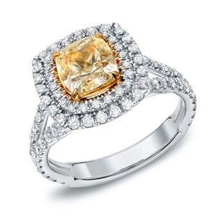 Auriya 18k Gold 2 1/2ct TDW Certified Fancy Yellow Cushion-cut Diamond Ring (F-G, SI1-SI2)