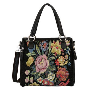 Mellow World Flower Shop Hand-beaded Vintage Floral Tapestry Travel Tote Bag