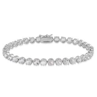 Dolce Giavonna Sterling Silver White Topaz Tennis Bracelet