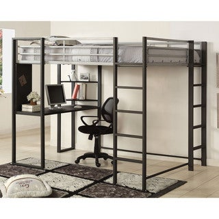 Furniture of America Claremonte Silver and Grey Metal Loft Bed with Workstation