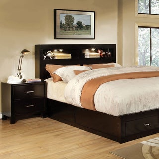 Furniture of America Clement 2-piece Storage Platform Bed with Nightstand Set