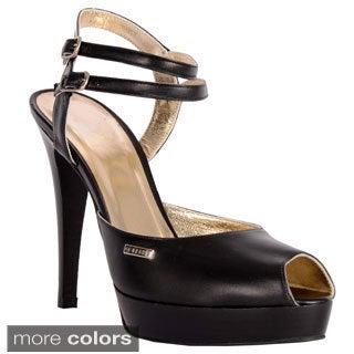 GF Ferre Women's Italian Leather Double Strap Peep-toe Sandals