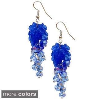 Bleek2Sheek Vine-ology Vine Leaf Crystal Cluster Earrings