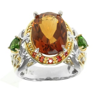 Michael Valitutti Two-tone Madiera Citrine, Chrome Diopside and Orange Sapphire Ring