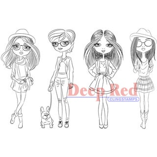 """Deep Red Cling Stamp 3.75""""X5.75""""-City Girls Street Chic"""