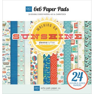 "Echo Park Paper Pad 6""X6"" 24/Pkg-Walking On Sunshine"