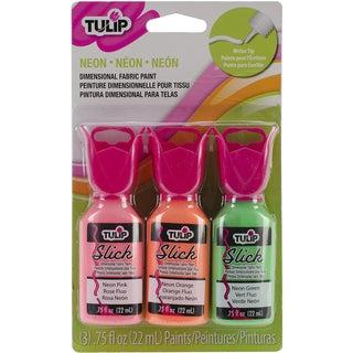 Tulip Dimensional Fabric Paint Pack .75oz 3/Pkg-Neon