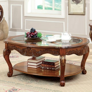 Furniture of America Lilliana Traditional Style Glass Top Coffee Table