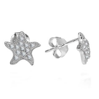 Dazzling Wavy Starfish Cubic Zirconia .925 Silver Earrings (Thailand)