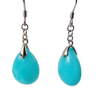 Pair of beautiful Gemstone AA Amazonitet set in 925 Sterling Silver drop earrings