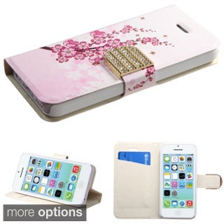 INSTEN Stand Wallet Diamante Magnetic Flap Leather Phone Case Cover for Apple iPhone 5C
