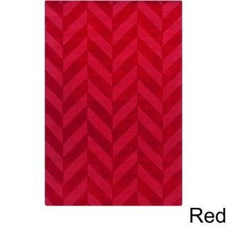 Artistic Weavers Hand-woven Ann Tone-on-Tone Geometric Zig-Zag Wool Area Rug (3' x 5')