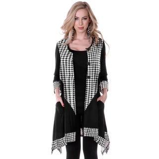 Women's Long Sleeve Houndstooth Tunic