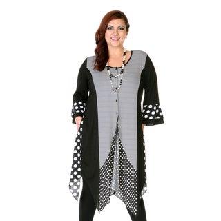 Firmiana Women's Black Stripped Polka-dot 3/4-length Sleeve Tunic