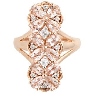 18K Rose Vermeil over Sterling Silver Morganite White Zircon Elongated Flower Ring