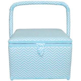 "Square Sewing Basket-11.75""X11.75""X8.25"" Aqua Chevron"