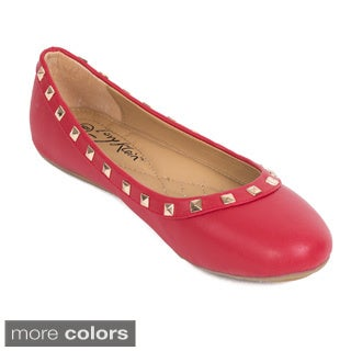 Women's Studded Faux Leather Ballerina Flats