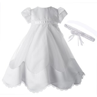 Grils White Christening/ Baptism Gown with Headband