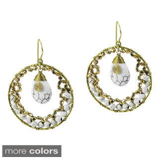 Dazzling Moon Teardrop Stone Dangle Brass Earrings (Thailand)