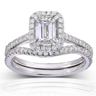 Annello 14k White Gold 1 1/2ct TDW Emerald-cut Halo Diamond Bridal Rings Set (H-I, I1-I2) with Bonus Item