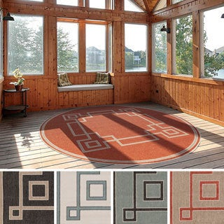 Meticulously Woven Odette Contemporary Geometric Indoor/Outdoor Area Rug (7'3 Round)