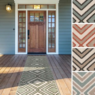 Meticulously Woven Jasmine Contemporary Geometric Indoor/ Outdoor Area Rug (2'3 x 11'9)