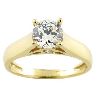 10k Yellow Gold Round Cubic Zirconia Solitaire Engagement Ring