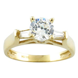 10k Ladies Round Cubic Zirconia Engagement Ring