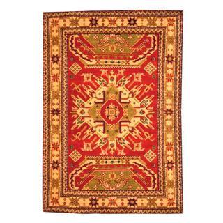Herat Oriental Indo Hand-knotted Kazak Red/ Beige Wool Rug (4' x 6')