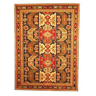 Herat Oriental Indo Hand-knotted Kazak Navy/ Red Wool Rug (3' x 5')