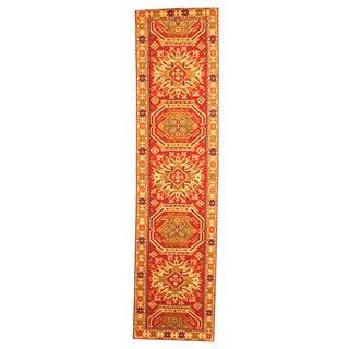 Hand-knotted Indo Kazak Red/ Beige Wool Rug (2'6 x 10')