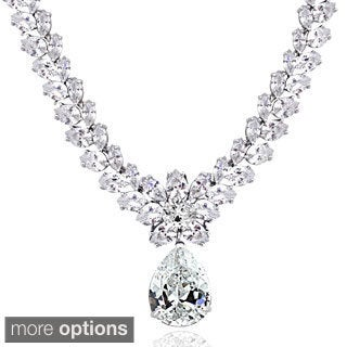 Icz Stonez Sterling Silver 69 1/2ct TGW Cubic Zirconia Teardrop Necklace