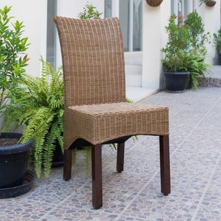 International Caravan 'Campbell' Rattan Wicker Stained Finish Dining Chair with Mahogany Hardwood Frame