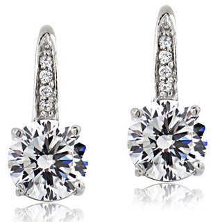 Icz Stonez Platinum Plated Sterling Silver 4 1/6ct TGW 100 Facets Cubic Zirconia Round Drop Leverback Earrings