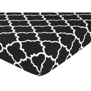 Sweet Jojo Designs Black and White Trellis Fitted Crib Sheet