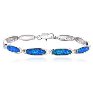Glitzy Rocks Silvertone Created Blue Opal Link Bracelet