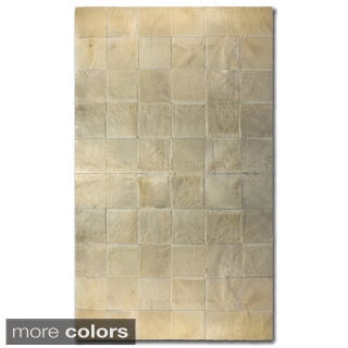 Natural by Lifestyle Brands Square Patch Barcelona Cowhide Area Rug (8' x 10')