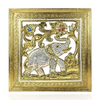 Elephant Gilded 24k Gold Leaf Mirror Carved Wood Frame (Thailand)