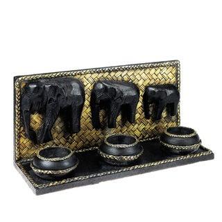 Elephant Parade Carved RainTree Wood Triple Candle Holder (Thailand)